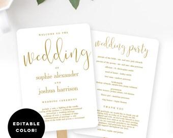 EDITABLE COLOR Wedding Program Fan or Flat Program Templates Black/Navy/Gold/more Printable Instant Download - Graceful Calligraphy #GCC