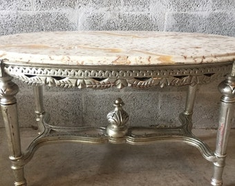 French Coffee Table French Furniture Marble Top Table Silver Leaf Rococo  Furniture Baroque Antique Round Coffee