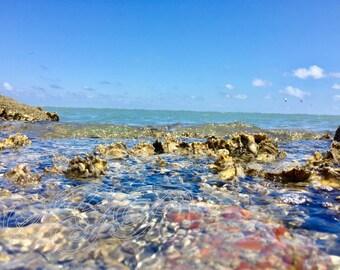 Buried Treasure.Sparkling Water.Wave Photography.Water Photography.Beach Photography.Landscape.Summer.Water Over Rocks.Digital Download.