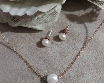 Rose Gold Necklace and Earrings, Pearl Set, Traditional Pearl Necklace and Earring Set, Wedding, Anniversary, Rose Gold Plated Pearl Set