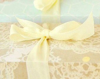 "Yellow Seam Binding Ribbon - Mimosa Yellow   - 5 Yards - Packaging - Gift Wrap - 1/2"" Trim - Crafting - Supply - Decorating"