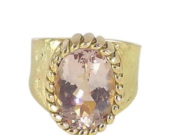 Morganite Ring 7 Carats 14K Gold Handmade Vintage Engagement Unisex