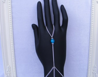 Silver Slave/Ring Bracelet with Blue/Cyan Glass Bead
