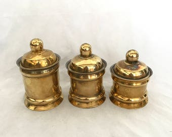 Brass Canister Set, Set of Three, Vintage Brass Containers, Kitchen Decor, Made in India, Brass Home Decor, Bohemian Home, Housewarming Gift