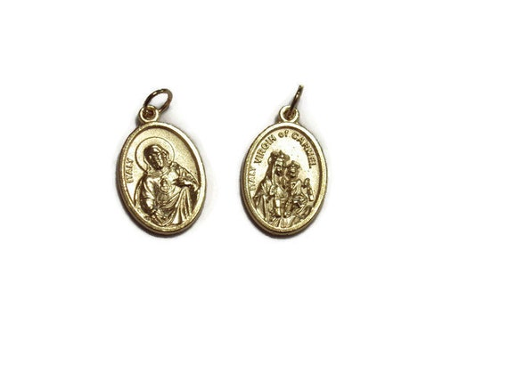 Scapular Medal - Sacred Heart of Jesus / Our Lady of Mount Carmel Pendant - Italian medal - Two-sided, gold tone - 24 inch chain