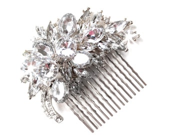Comb - Ritzy Hair Comb with Clear Silver Rhinestones - Vintage Style Hair Piece - Silver Crystal Bridal Comb - Wedding Hair Comb - Brooch
