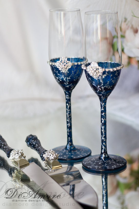 engraved wedding flutes and cake server sets navy blue silver personalized toasting flutes wedding 3924