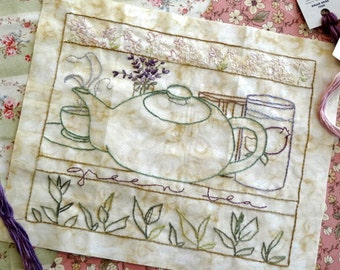 Green Tea Hand Embroidery PDF Pattern Lavender Jasmine Flowers Instant Download