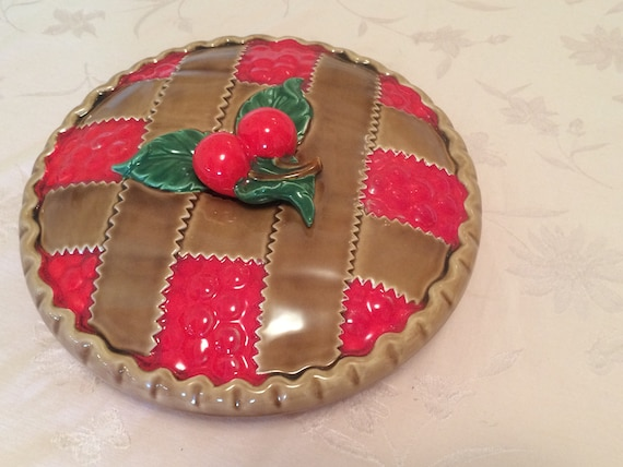 Ceramic Cherry Pie Plate Dome In Vintage Kitchen Decor Retro Cherry Kitchen Cooking Pie Covered Pie Dish Pie Plate Decorative Pie from AspenRidge on Etsy ... : decorative pie plate - Pezcame.Com