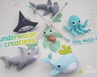 Underwater creatures mobile - Ocean Mobile - Whale Mobile - shark mobile - Fish Mobile