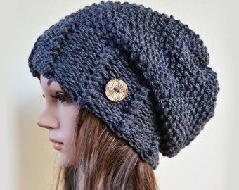 Slouchy beanie hat with button - MARENGO GREY (Made to Order) - Oversized - chunky - handmade - vegan friendly - baggy