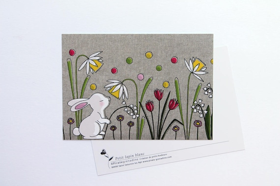 """Postcard """"little white rabbit"""" card illustrated by squash Pirate"""