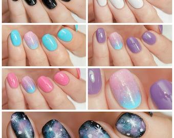 FULL SIZE Galaxy Nails Collection - custom creme holographic glitter galaxy nail polish