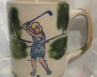 LOUISVILLE STONEWARE Lady Golfer MUG Golf Woman
