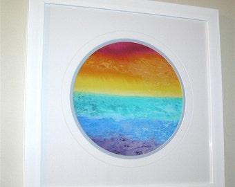 Rainbow landscape, wall art, white or black background, gift 22, home decor, red, orange, yellow, green, blue, purple, rainbow art