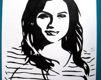 Mindy Kaling, portrait original painting stencil feminist woman black and white