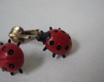 Ladybug Red Earrings Clip Dangle Vintage
