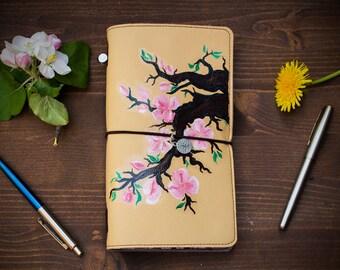 Hand Painted Sakura Ecoleather Black Paper Planner 2018 Standard Size Midori Travelers Notebook Daily Planner Journal Fauxdori