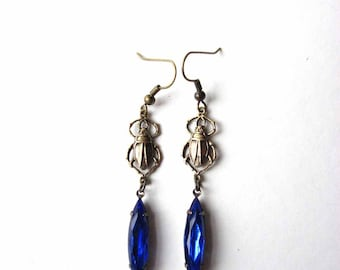 cobalt blue scarab earrings - vintage glass navette drop rhinestone beetle jewelry
