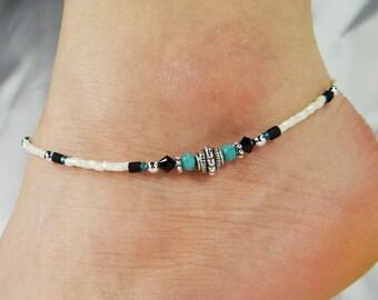 Anklet, Ankle Bracelet Turquoise Anklet, Southwestern Anklet, Blue Anklet, Crystal Anklet, Beaded Anklet Minimalist Anklet Boho Anklet