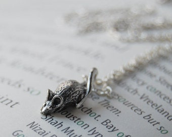 Teeny Tiny Mouse Necklace   Cute Little Silver Mouse Charm Necklace   Rat Necklace