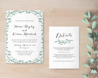 Printable Wedding Invitation / Digital Wedding Invitation / Printed Wedding Invitation available! / Botanical Wedding Invitation / Rustic