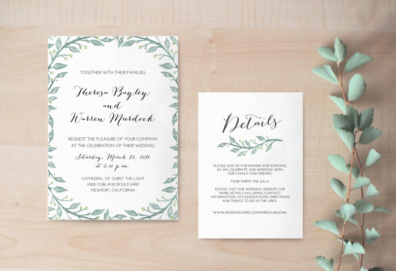Hochzeitseinladung mit floralem Muster / Hochzeitseinladung