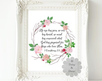 1 Corinthians 2:9 no eye has seen Bible verse Scripture print Christian quote Typography art print wall decor love wedding nursery wall