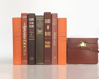 Decorative Book Set in Bark and Tangerine for Bookshelf Decor, Instant Library, Book Bundle, Book Decor, Book Stack Vintage