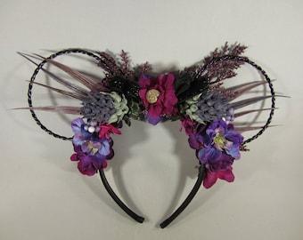 Ursula Inspired Mickey Ears - Villain Mouse Ears - Silk Flowers - Themed Floral Crown - Little Mermaid Inspired Wire Minnie Ears - Headband