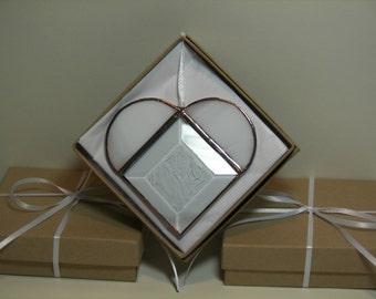 Stained Glass Bevel Heart White, Wedding Favor,Bridal Shower, Heart Ornament, White bevel heart, Heart Suncatcher