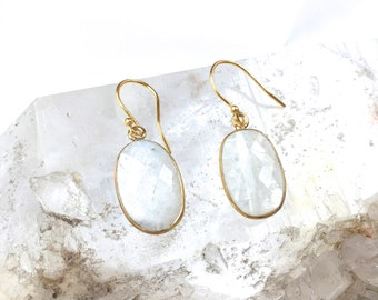 MOONSTONE Gemstone drop Earrings-Elegant Dangle Earrings-Opalescent White Mineral Gemstones in Gold Vermeil-Mother's Day+ BFF Gift for Her!
