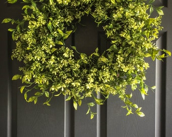 WREATHS | Faux Boxwood Wreath | Winter Wreaths | Front Door Wreaths | Summer Wreaths | Office Decor | Wall Decor | Housewarming Gift