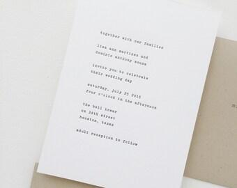 Vintage Typewriter Wedding Invitation Sample   Letterpress Wedding Invitation   Black and White Wedding Invitation   Grey   Gray Wedding