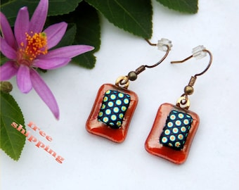 2 Fused dichroic glass earrings, pale red transparent, black and multicolored dots, rectangle, dangles