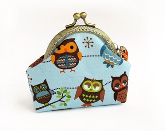 Blue Coin Purse with Owls, Brown Birds - Made to order