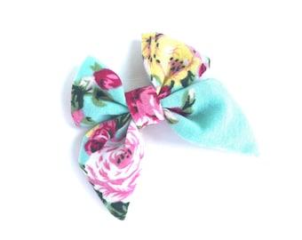 Floral sailor hair bow - sailor bows, hair bows, girls hair bows, girls bows, toddler hair bows, baby hair bows, fabric hair bows, hairbows