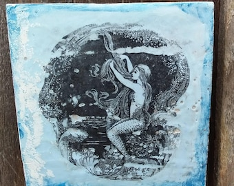 Original mermaid encaustic art