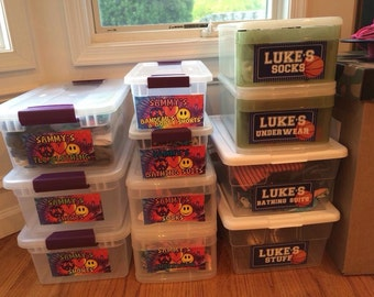 CAMP BUNK bin labels!! Fancy organization!