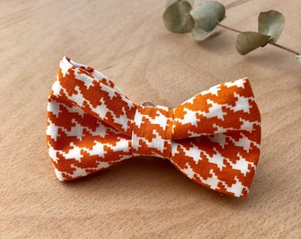 Orange Houndstooth Mens Boys Bow Tie