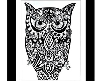 "Owl Pen and Ink Print 8"" x 11"" Home Decor Artwork - Hand Drawn Art - Black and White Zentangle S"