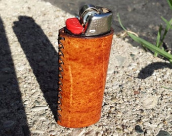 Leather Lighter Cover / Case, fits standard size Bic - Any Color