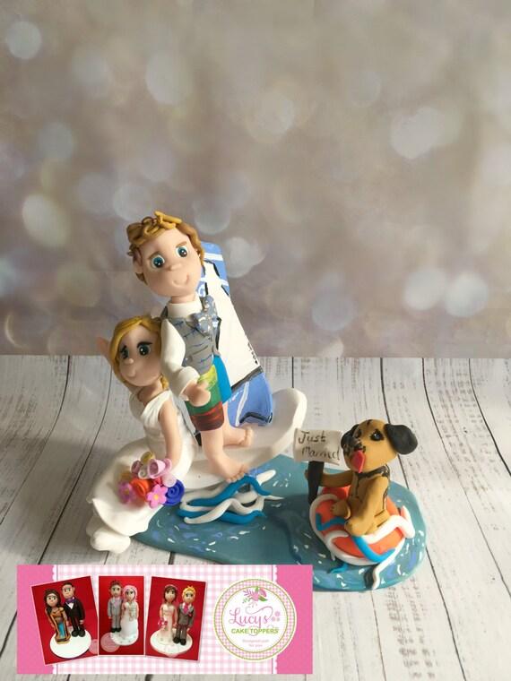 Wedding cake Topperwindsurfer / sailing/ Boat Bride and Groom - a lovely keepsake fully handmade
