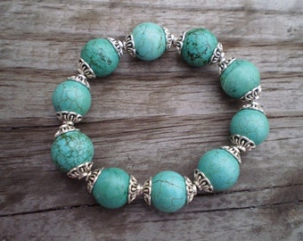 Dyed Turquoise Howlite Stretch Bracelet