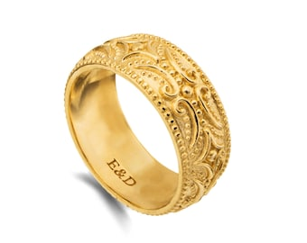 Wide Gold Ring , milgrain tribal band, solid gold men's wedding band, boho scrolls gold band for men and women