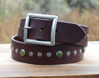 """Custom leather belt womens, Brown leather belt, wide leather belt, gemstones and studs, 1.5"""" wide with antique buckle"""