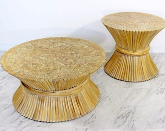 Mid Century Modern Pair Of McGuire Bamboo Wheat Sheaf Coffee & End Table