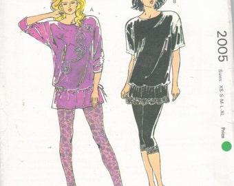 Kwik Sew 2005, Sz 8- 22/XS-XL.  Women's Athleisure Activewear/Ladies Leggings & Oversized Knit Tunic Top Pattern, UNCUT Vintage Kwik Sew