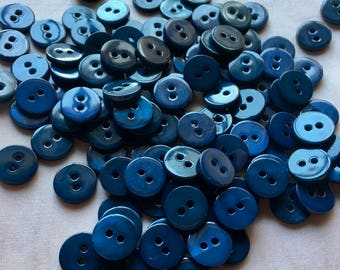 18 NAVY BLUE Buttons Mother of Pearl 18L 11mm for Knitting, Jewelry, Garments, Crafts  BU 148