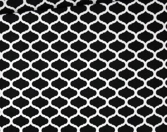 Mini fabric Moroccan lattice, 100% cotton printed 50 x 160 cm, black and white Moroccan pattern
